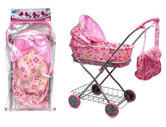 Прогулочная кукольная коляска с сумкой и козырьком 100435220