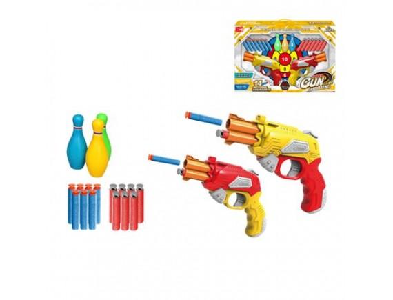 Пистолет Gun с мягкими пулями, кеглями и мишенью 200666057