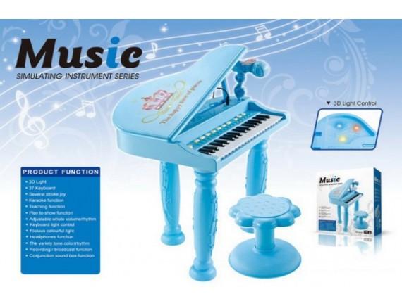 Детское пианино со стульчиком и микрофоном