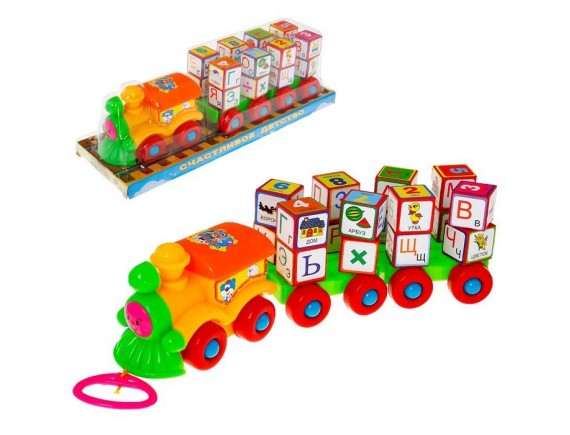 Каталка-паровоз с кубиками 2366A
