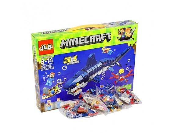 Конструктор Майнкрафт Акула 351 деталь JLB 3D97