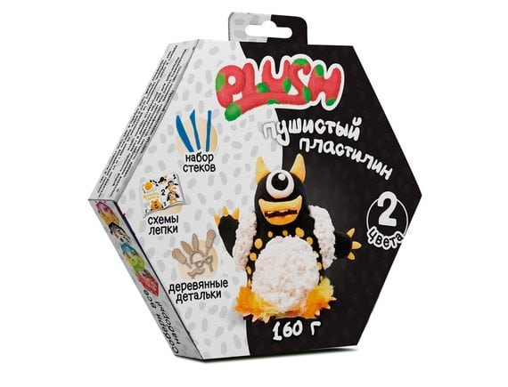 PLUSH Пушистый пластилин Черный+белый PL02201807