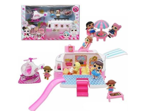Игровой набор кукла-сюрприз Автобус и вертолет TM915