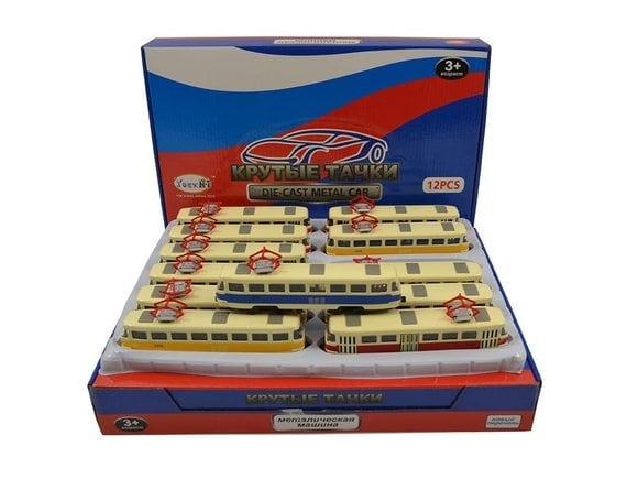 Трамвай Металл (Свет/Звук/16см/12шт/отк.двери) CYX1812-12D