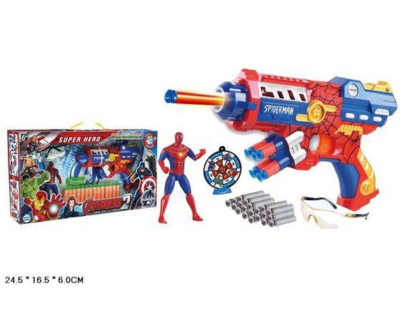Пистолет с мягкими пулями и героем в коробке