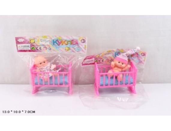 """Кукла в пакете """"Малыш в кроватке"""" KY585-37"""